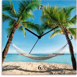 Artland Wanduhr Palmenstrand Karibik mit Hängematte