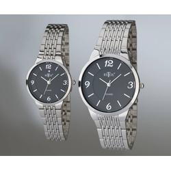 Damen und Herren Uhren Set, schwarzes Zifferblatt und Swarowski Kristall auf der Damenuhr