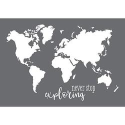 Rayher Siebdruckschablone Weltkarte grau
