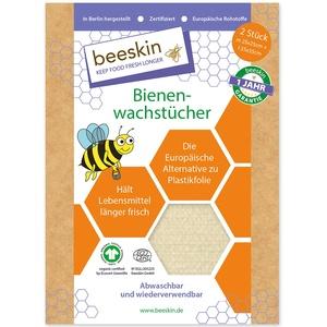 beeskin Bienenwachstuch 2er Set zum Frischhalten & Aufbewahren von Lebensmitteln – Größe: M, 25x25 cm & L, 35x35 cm, 2 Stück (Natural)