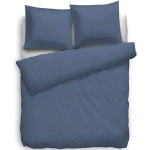Heckett Lane Bettwäsche 100% Baumwolle Mako-Satin Uni Puntini 155x220 (80x80) Steel Blue