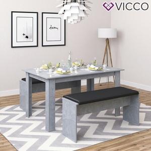 Tischgruppe Sitzgruppe Essgruppe Holztisch Esstisch Holz Tisch Beton Vicco