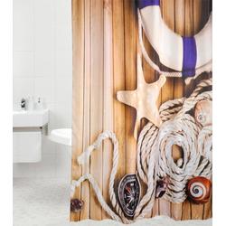 Duschvorhang »Maritime«, 180 x 180 cm, 24209504-0 braun braun