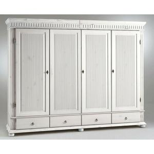Massivholz Kleiderschrank 4türig Xl Weiß Kiefer Massiv Schlafzimmer Schrank