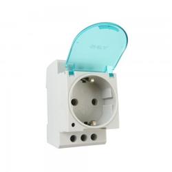 Steckdose Schuko für Hutschiene DIN TH35 16A 230V mit Klappdeckel ohne LED Schukodose Einbausteckdose 7160 ONKA 1600