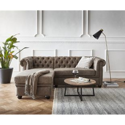 Couch Chesterfield 200 cm Taupe Abgesteppt Ottomane Links