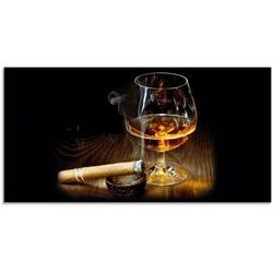 Artland Glasbild Zigarre und Cognac, Zigarren (1 Stück) 100 cm x 50 cm
