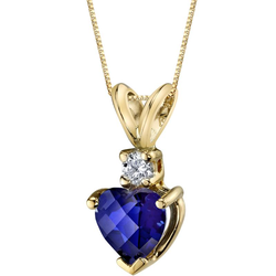 Goldkette mit Saphir-Herz und Diamanten Reese