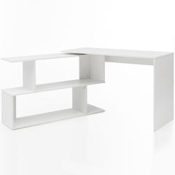 FINEBUY Schreibtisch FB51521, Design Schreibtisch Weiß Matt 119 x 78 x 49 cm mit Ablage Regal Eckschreibtisch mit Aufbewahrung Drehbar Modern Weißer Computer-Tisch Groß Fach Stauraum Winkelkombination