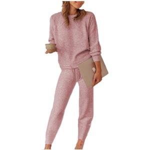 Damen Fleece Freizeitanzug Zweiteiler Hosenanzug Casual Hausanzug Lässige Änzuge Bekleidung Set Pullover + Lange Hosen S Xbao