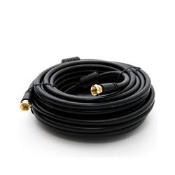 PremiumX 25m BASIC-LINE SAT TV Antennenkabel F-Anschlusskabel Koaxial-Kabel mit Mantelstromfilter HDTV 4K - Schwarz TV-Kabel