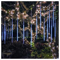 TOPMELON LED-Lichtervorhang Lichtervorhänge, 192-flammig, LED Eiszapfen Lichtervorhang,LED Dekolicht blau 0.3 m