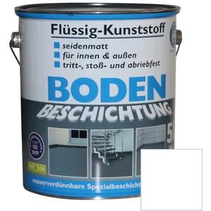 Flüssig Kunststoff 5L Bodenbeschichtung 50m2 Betonfarbe Beton Beschichtung (Reinweiß)