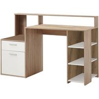 FMD Schreibtisch Sonoma-Eiche-Nachbildung/weiß