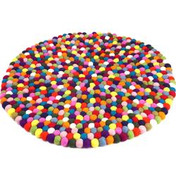 Teppich Filzkugel-Teppich bunt 60 cm, Guru-Shop, Höhe 2 mm