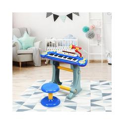 COSTWAY Keyboard Kinder Keyboard, 37 Tasten, inkl. Mikrofon, mit Ständer&Lichter, Blau blau