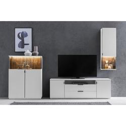 expendio Wohnwand Mutina 21, (Spar-Set, 3-St), weiß 280x190x45 cm mit Altholz-Rückwand