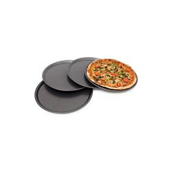 relaxdays Pizzablech Pizzablech rund 4er Set, Stahl