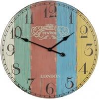 Wohnling Deko Vintage Wanduhr XXL Ø 60 cm London Stripes Holz bunt Große Uhr Dekouhr rund, Design Retro Küchenuhr für Küche & Wohnzimmer