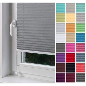 Home-Vision Premium Plissee nach Maß, ohne Bohren mit Klemmträger, für Fenster & Tür Sonnenschutzrollo Kollektion Melange (Grau, B111-120cm x H201-230cm)