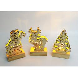 JOKA international LED Dekofigur LED Holzfiguren Weihnachten, 3er Set