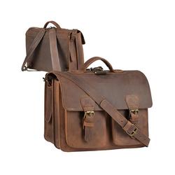 Ruitertassen Aktentasche Classic Satchel, 38 cm Lehrertasche mit 2 Fächern, auch als Rucksack zu tragen, dickes rustikales Leder braun
