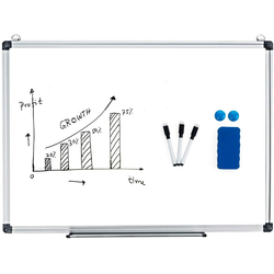 COSTWAY Magnettafel Whiteboard, Magnettafel Schreibttafel Pinnwand Wandtafel Board Memoboard mit Alurahmen 60 cm x 90 cm