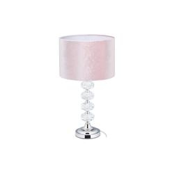 relaxdays Nachttischlampe Tischlampe Kristall und Samt in Rosa