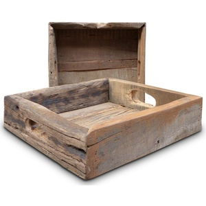 LS-LebenStil XL Vintagel Echt-Holz Serviertablett Fundholz 30x30cm Griff-Tablett Betttisch Betttablett