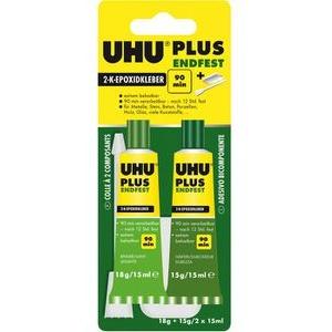 UHU 2-Komponentenkleber Plus Endfest, 33g, 2-K-Epoxidkleber, wasserfest, transparent