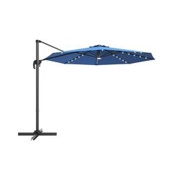 COSTWAY Ampelschirm LED Sonnenschirm, Gartenschirm, Kurbelschirm, Ø300 cm, mit Kreuzständer, für Garten, Terrasse, Pool oder Veranda blau