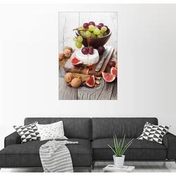 Posterlounge Wandbild, Camembertkäse mit Feigen, Nüssen und Trauben 100 cm x 150 cm