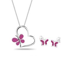 Elli Schmuckset Schmetterling Herz Kristalle Silber rosa