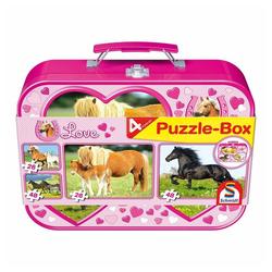 Schmidt Spiele Puzzle Pferde Puzzle-Box 4 Puzzle, 148 Puzzleteile bunt