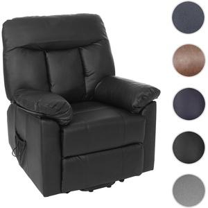 Fernsehsessel Watford, Relaxsessel Liege Sessel, Aufstehhilfe ~ schwarz, Kunstleder