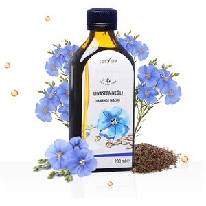 Premium Leinöl von Estvita Pro - 1 x 200 ml Glasflaschen Hoher Gehalt an gesunden Omega-3-Fettsäuren 100% rein & kaltgepresst Geschmacksneutrales Leinöl aus nachhaltigem Anbau