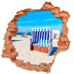 DesFoli Wandtattoo Strand Strandkorb Meer B0816 bunt 90 cm x 87 cm