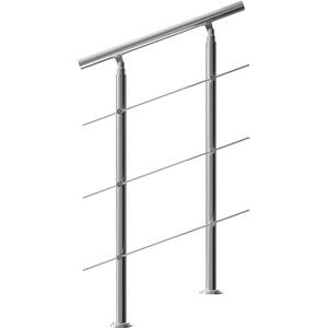 Monzana Treppengeländer Edelstahl Pflegeleicht 80cm mit 3 Querstreben Innen und Außen Handlauf Geländer Brüstung Balkon