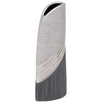 Dekohelden24 Edle Moderne Deko Designer Keramik Vase in Silber-grau hoch, Silbergrau, 25 cm
