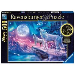 Ravensburger Puzzle Wolf im Nordlicht - Puzzle mit 500 Teilen, Puzzleteile