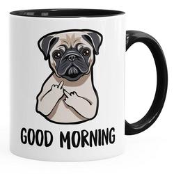 MoonWorks Tasse Kaffee-Tasse Good Morning böser Mops Mittelfinger Büro-Tasse Teetasse Keramiktasse MoonWorks®, Keramik