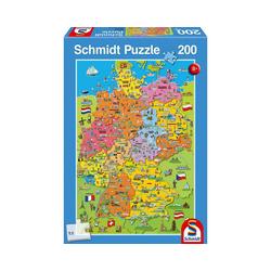 Schmidt Spiele Puzzle Puzzle, 200 Teile, 36x24 cm, Deutschlandkarte mit, Puzzleteile