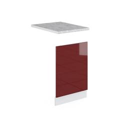 Vicco Frontblende Geschirrspülerblende 45 cm mit Arbeitsplatte Küchenschrank Küchenschränke Küchenunterschrank R-Line Küchenzeile rot