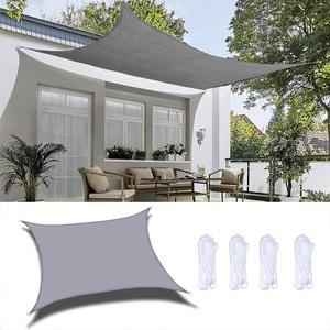 Xinwanhong Sonnensegel, Rechteckig Wasserdicht Sonnenschutz Segel Schatten Polyester 90% UV-Schutz Tear Resistant für Garten, Innenhof, Outdoor Terrasse, Balkon, Rechteckig 2×4m, Hellgrau
