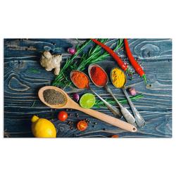 Artland Küchenrückwand Gewürze in Metalllöffeln, (1-tlg) 110 cm x 65 cm x 0,3 cm