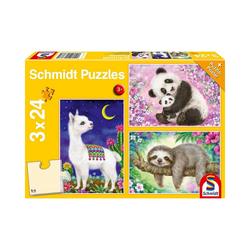 Schmidt Spiele Puzzle Puzzle Panda, Faultier & Lama, 3 x 24 Teile, Puzzleteile