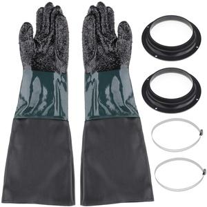 joyMerit 60cm Sandstrahlerhandschuhe PVC Arbeitschutz Handschuh für Sandstrahlkabine mit Klemme und Halter