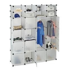 relaxdays Kleiderschrank transparent 20 Fachböden