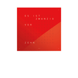 Wanduhr Qlocktwo rot, Designer Biegert & Funk, 45x45x4.5 cm