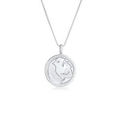 Elli Kette mit Anhänger Weltkugel Globus Münze Coin 925 Silber, Weltkugel silberfarben